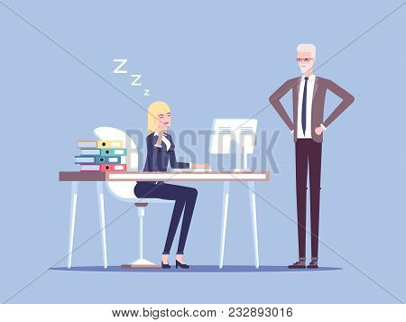 Boss Caught A Young Female Office Worker Relaxing At Desk During Work Vector Flat Illustration. Tire