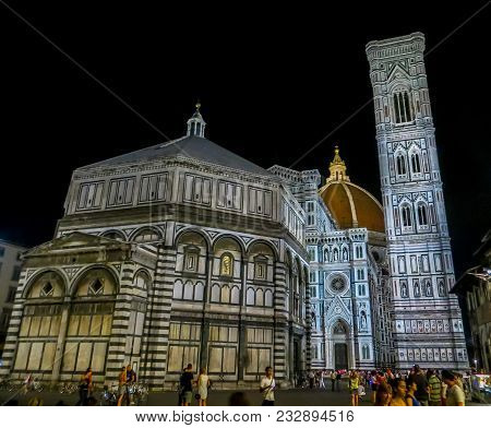 Florence, Italy - 08/08/2012 - Florence Baptistery, Duomo, Brunelleschi Dome, And Giotto Bell Tower