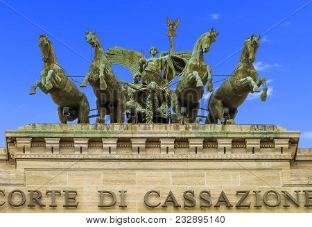 Rome, Italy - 08/13/2012 - Supreme Court Of Cassation (italy) -  Chariot With Eagle Standard And Hor