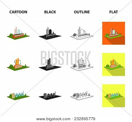 Processing Factory, Metallurgical Plant. Factory And Industry Set Collection Icons In Cartoon, Black