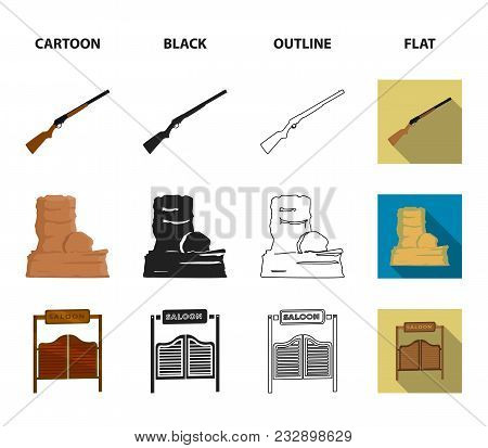 Winchester, Saloon, Rock, Fire.wild West Set Collection Icons In Cartoon, Black, Outline, Flat Style