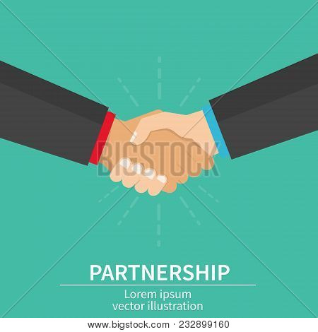 Business Partner Handshake Of Business Partners. Success Deal, Happy Partnership, Casual Handshaking