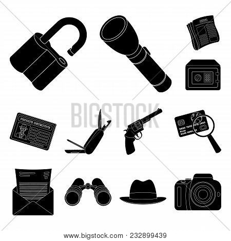 Detective And Attributes Black Icons In Set Collection For Design.detective Agency Vector Symbol Sto