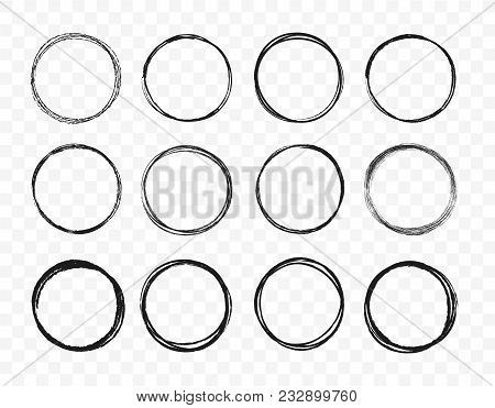 Set Hand Drawn Circle Line Sketch Set. Circular Scribble Doodle Round Circles For Message Note Mark