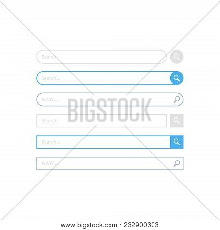 Search Bar Design, Set Of Search Boxes Ui - Ux Design And Web Site. Flat Design, Vector Illustration