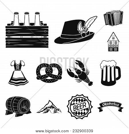 October Festival In Munich Black Icons In Set Collection For Design.tradition And Fun Vector Symbol