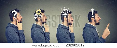 Emotional Intelligence. Side View Of A Thoughtful, Thinking, Finding Solution Man With Gear Mechanis
