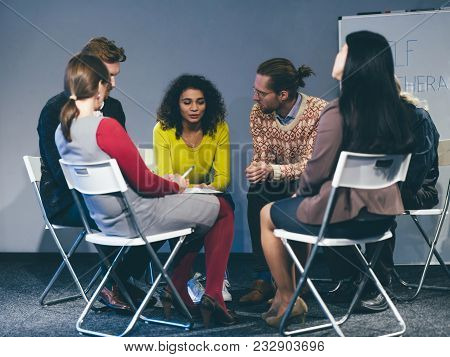 People With Different Problems Having Group Meeting. Exchanging Advice. Toned Concept.
