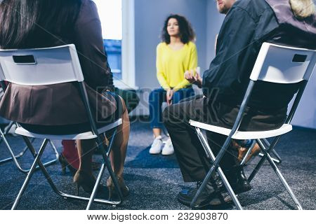 People Having Group Therapy.they Are Former Drug Takers. Toned Concept.