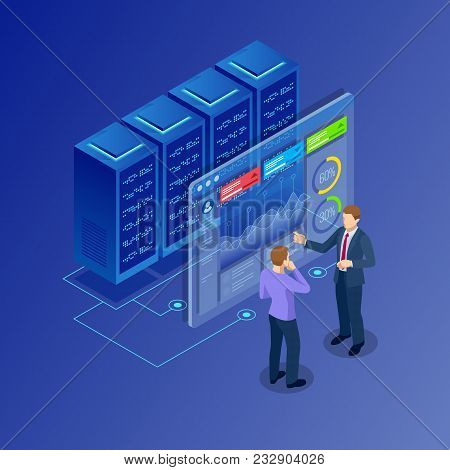 Isometric Concept Of Data Network Management. Businessmans In Data Center Room. Hosting Server And C
