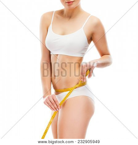 Woman measuring waist isolated on white background