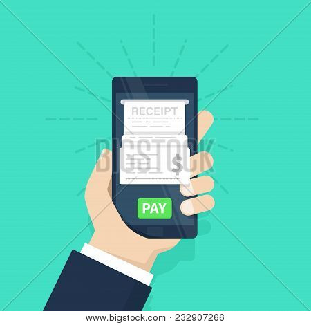 Mobile Payment Concept. Receipt. Pay Bills On Line. Internet Banking. Using A Mobile Phone To Bank A