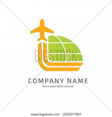 Illustration Design Of Logotype Business Airplane. Vector Airport Web Icon.