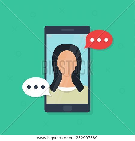 Video Chatting Online On Smartphone, Flat Cartoon Smartphone, Calling Service. Messages On Phone Of