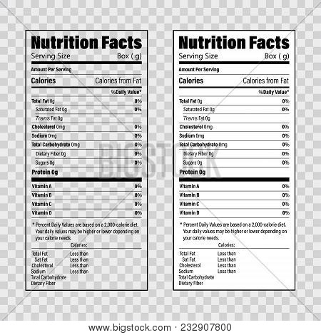 Nutrition Facts Information Label Template. Daily Value Ingredient Calories, Cholesterol And Fats In