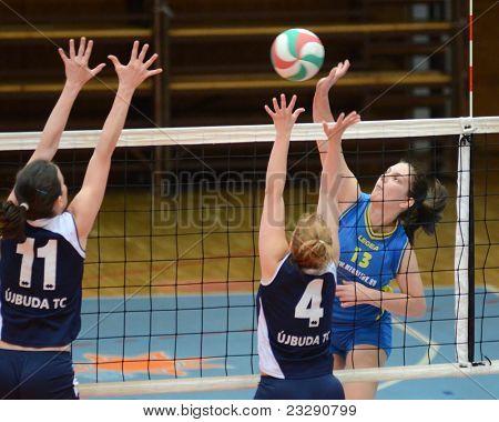 KAPOSVAR, HUNGARY - APRIL 24: Gabriella Kondor (13) strikes the ball at the Hungarian NB I. League woman volleyball game Kaposvar (blue) vs Ujbuda (black), April 24, 2011 in Kaposvar, Hungary.