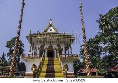 Entrance Steps Of The Main Facade Of The Buddhist Temple Wat Leu Sihanoukville Cambodia