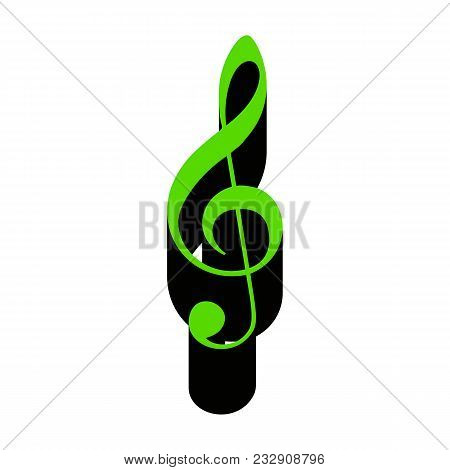 Music Violin Clef Sign. G-clef. Treble Clef. Vector. Green 3d Icon With Black Side On White Backgrou
