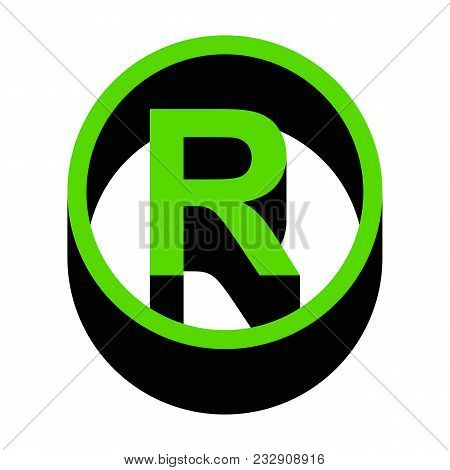 Registered Trademark Sign. Vector. Green 3d Icon With Black Side On White Background. Isolated.