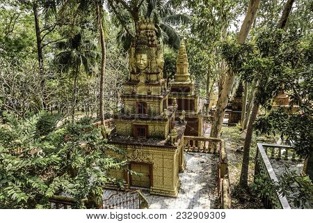Constructions Are Seen Around The Buddhist Temple Wat Leu In The Middle Of The Jungle Sihanoukville