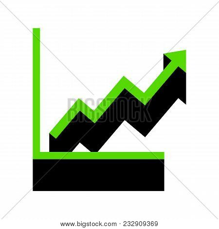 Growing Bars Graphic Sign. Vector. Green 3d Icon With Black Side On White Background. Isolated.
