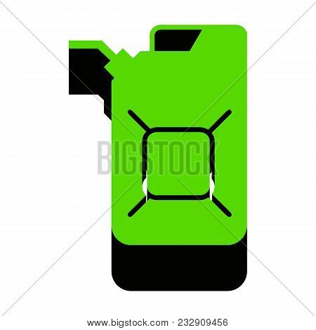 Jerrycan Oil Sign. Jerry Can Oil Sign. Vector. Green 3d Icon With Black Side On White Background. Is