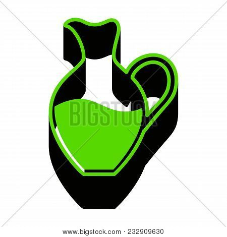 Amphora Sign. Vector. Green 3d Icon With Black Side On White Background. Isolated.