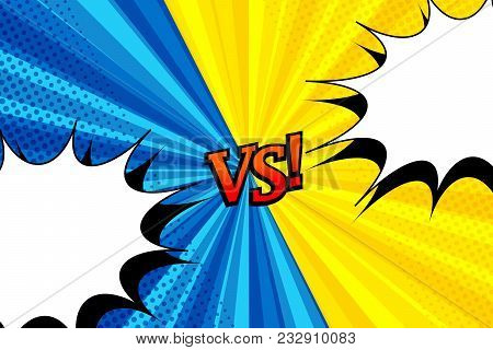Comic Versus Horizontal Background With Two Opposite Yellow And Blue Sides, White Speech Bubbles, Re