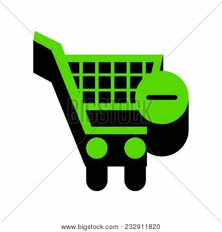Shopping Cart With Remove Sign. Vector. Green 3d Icon With Black Side On White Background. Isolated.