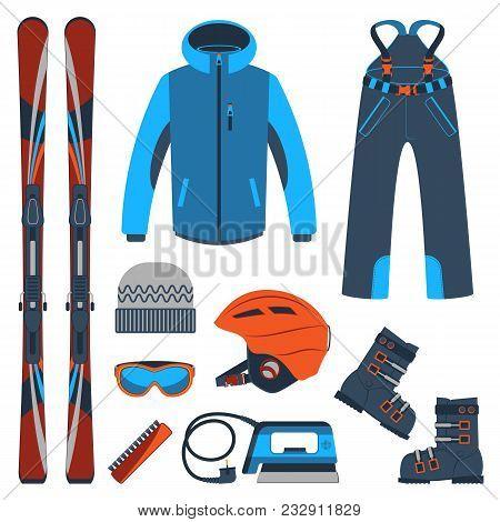 Ski Equipment Or Ski Kit. Extreme Winter Sports. Ski, Goggles, Boots And Other Ski Clothes. Colorful