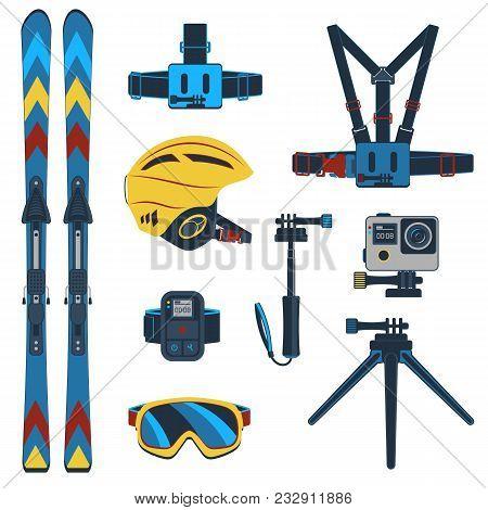Ski Equipment Or Ski Kit. Extreme Winter Sports. Ski, Ski Camera, Ski Boots And Other Extreme Ski Cl