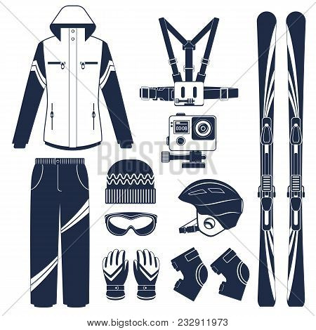 Ski Equipment Or Ski Kit. Extreme Winter Sports. Ski, Extreme Camera, Goggles, Boots And Other Ski C