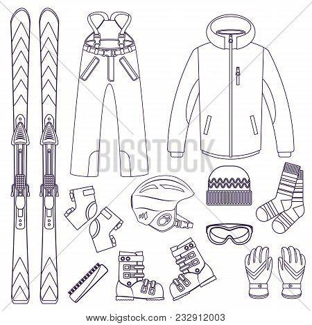 Line Style Ski Equipment Or Ski Kit. Extreme Winter Sports. Ski, Goggles, Boots And Other Ski Clothe