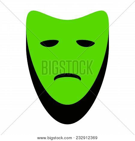 Tragedy Theatrical Masks. Vector. Green 3d Icon With Black Side On White Background. Isolated.