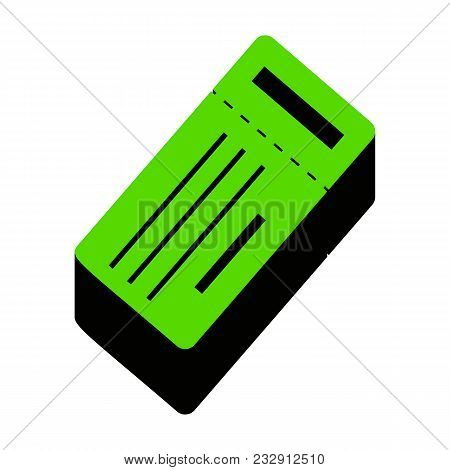 Ticket Simple Sign. Vector. Green 3d Icon With Black Side On White Background. Isolated.