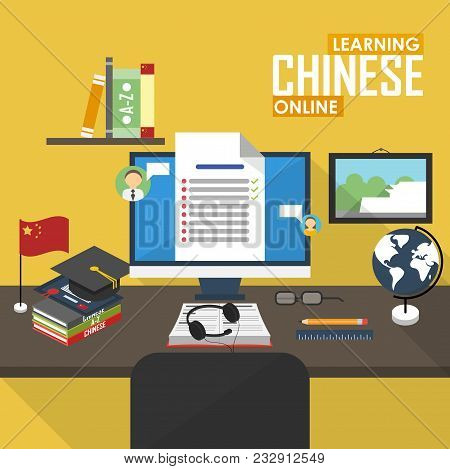 Flat Design Raster Illustration Concept Of Learning Chinese Language Online, Distance Education And