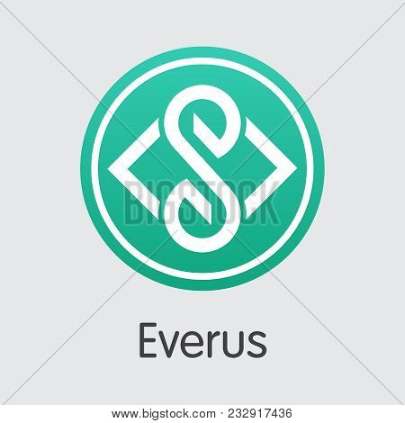 Vector Everus Crypto Currency Icon. Mining, Coin, Exchange. Vector Colored Logo Of Evr.