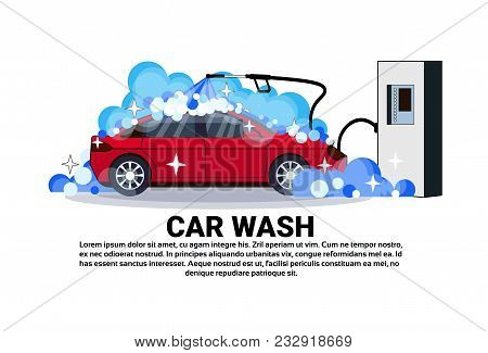 Car Wash Station Banner With Service Cleaning Vehicle Over Copy Space Background Flat Vector Illustr