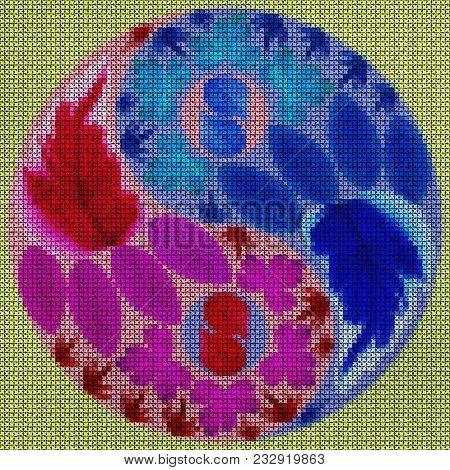 Illustration Cross-stitch Mandala From Dried Pressed Flowers. Cross-stitch Floral Collage. Mandala -