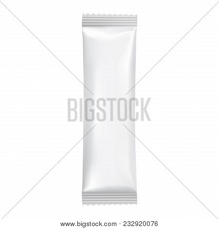 Blank Packaging Isolated On White Background. Foil Food Snack Bag For Chocolate Bar. Package Templat
