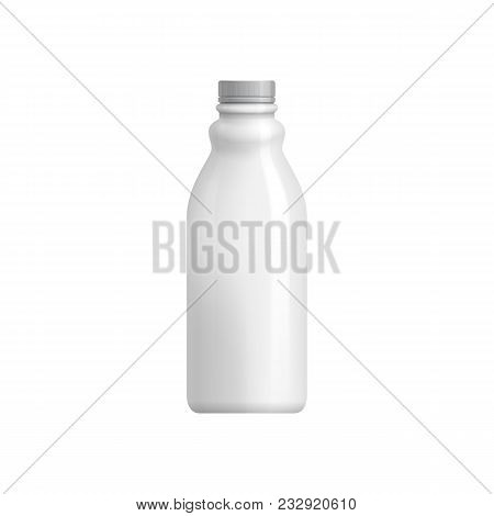 Plastic Bottle Template. For Milk Or Yogurt Product. Blank Packaging Isolated On White Background. P