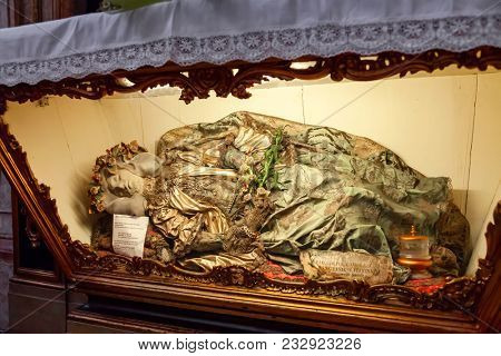Lisbon, Portugal - October 24, 2016: Remains of Saint Justina of Padua in the interior of the Santo Antonio de Lisboa Church. Built on the Saint Anthony of Lisbon aka of Padua or Padova birth location