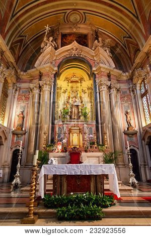 Lisbon, Portugal - October 24, 2016: Altar of the Santo Antonio de Lisboa Church. Built on the Saint Anthony of Lisbon aka of Padua or Padova birth location. Baroque style.