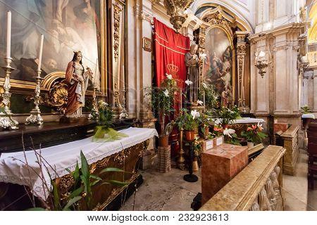 Lisbon, Portugal - October 24, 2016: Chapels in Baroque style in the interior of the Santo Antonio de Lisboa Church. Built on the Saint Anthony of Lisbon aka of Padua or Padova birth location.