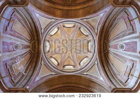 Lisbon, Portugal - October 24, 2016: Baroque dome, cupola or lantern tower of the Santo Antonio de Lisboa Church. Built on the Saint Anthony of Lisbon aka Padua or Padova birthplace