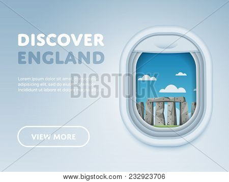 Discover England. Traveling The World By Plane. Tourism And Vacation Theme. Attraction Of Airplane W