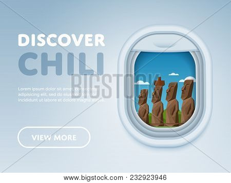 Discover Chili. Traveling The World By Plane. Tourism And Vacation Theme. Attraction Of Airplane Win