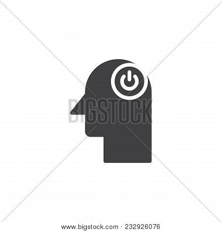 Human Head With Switch Button Vector Icon. Filled Flat Sign For Mobile Concept And Web Design. Power