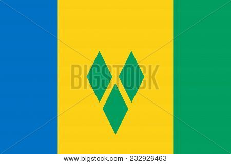 Flag Of Saint Vincent And The Grenadines Official Colors And Proportions, Vector Image