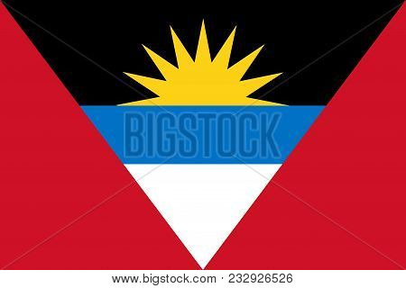 Flag Of Antigua And Barbuda Official Colors And Proportions, Vector Image